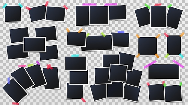 Snapshots frames, instant photo mockup and party photo wall template vector illustration Premium Vector