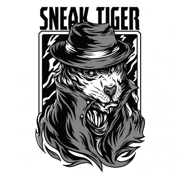 Sneak tiger black and white illustration Premium Vector