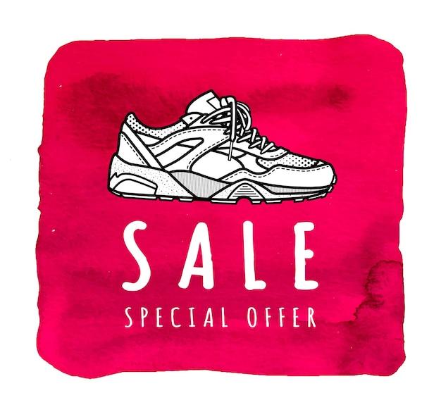 スニーカーセール特別オファー靴屋のイラスト Premiumベクター