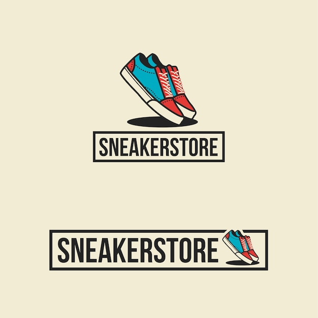 sneaker store logo shoes premium vector