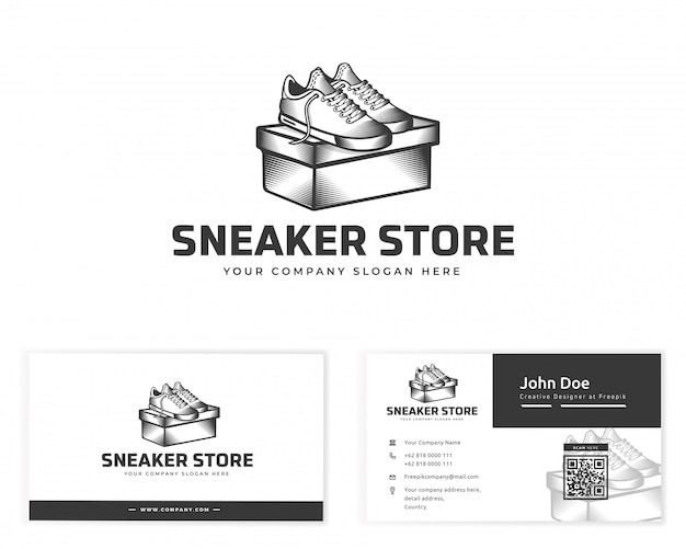 Sneaker store logo with stationery business card Premium Vector