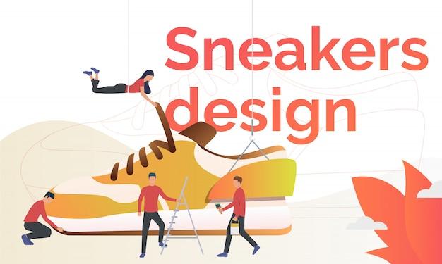 Sneakers design flyer template Free Vector
