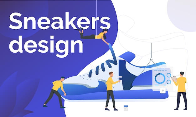 Sneakers design poster template Free Vector