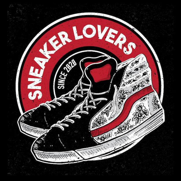 Логотип любителей кроссовок Premium векторы