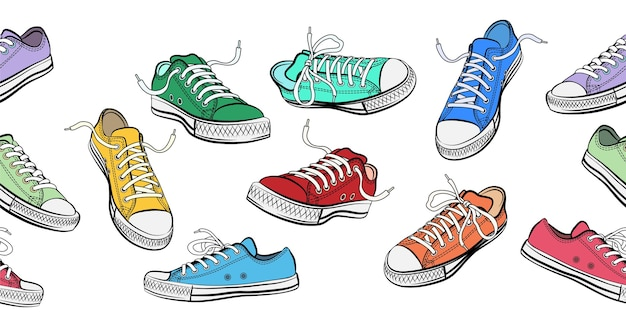 Sneakers shoes horizontal seamless pattern. Free Vector