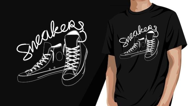Sneakers t-shirt design Premium Vector