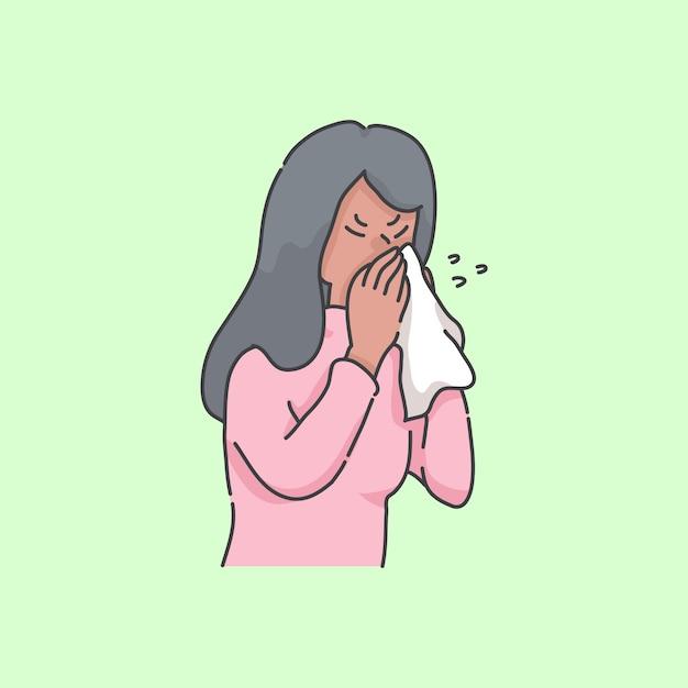 くしゃみをする女の子病気の人漫画イラストコンセプト プレミアムベクター
