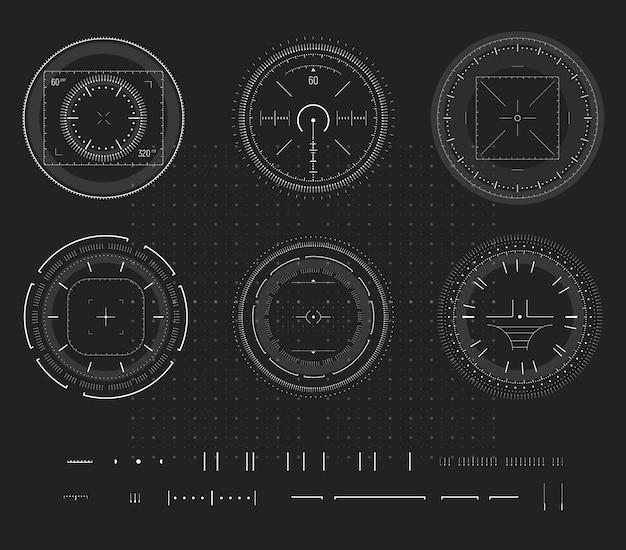 Sniper aim, digital smart device display, hud infographic, design element. shooting range, aim, target icon collection. Premium Vector