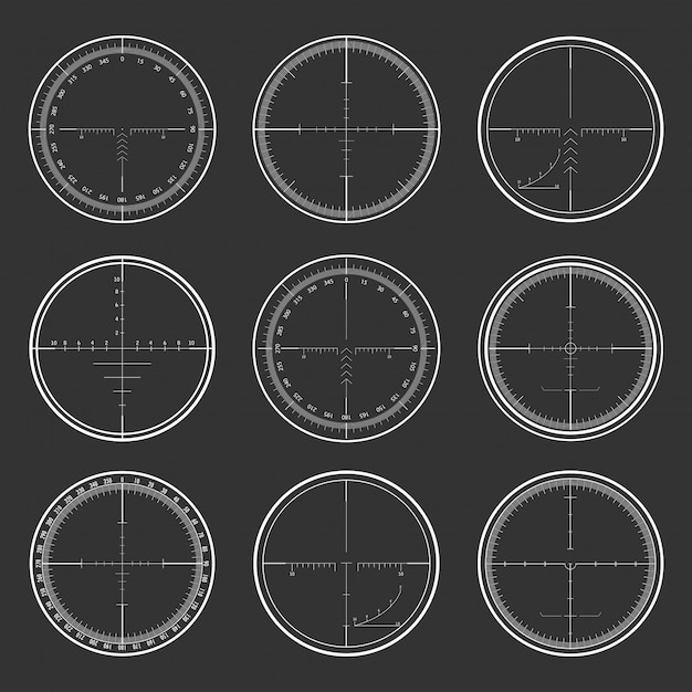 Sniper  crosshairs set Premium Vector