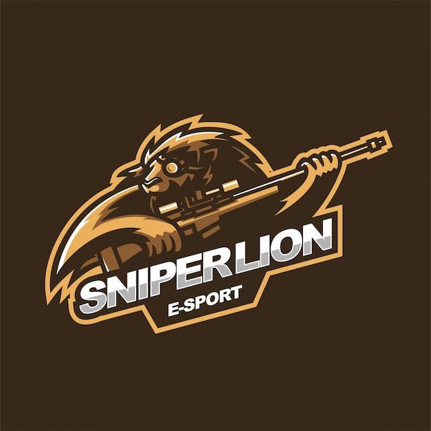 Sniper lion e-sport gaming mascot logo template Premium Vector