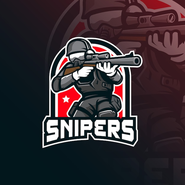 Sniper  mascot logo  with modern illustration  style for badge, emblem and tshirt printing. Premium Vector
