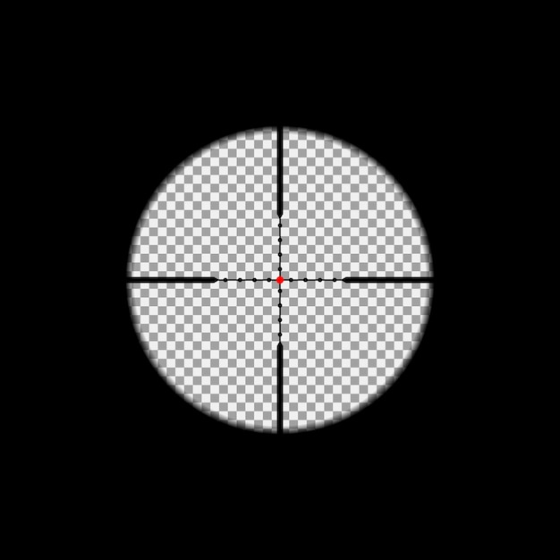 Sniper scope overlay on the transparent background. Premium Vector