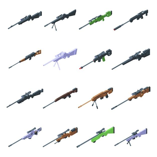 狙撃兵器のアイコンを設定します。白い背景で隔離のウェブの狙撃兵器アイコンの等尺性セット Premiumベクター