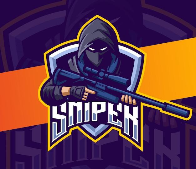Sniper with gun mascot esport logo gaming Premium Vector