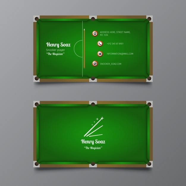 snooker business card vector free download