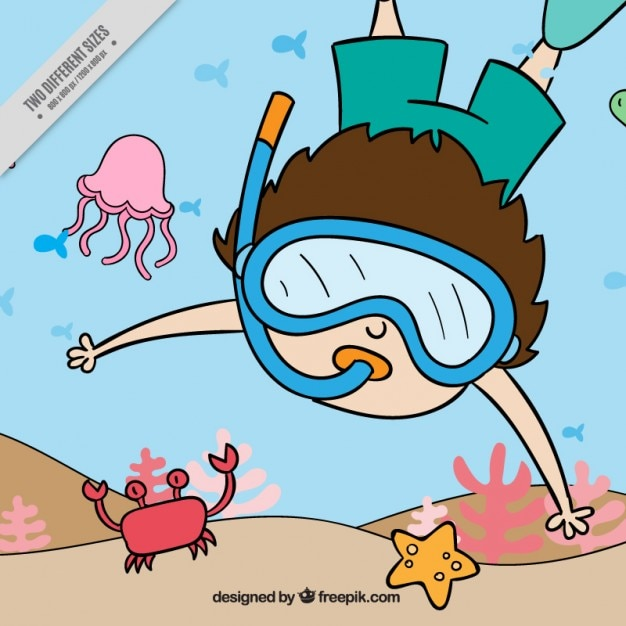Snorkeling background Free Vector