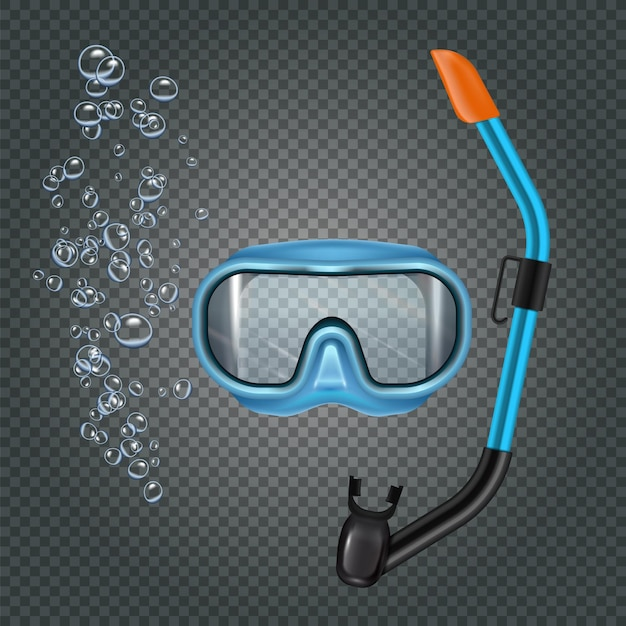 Snorkeling set with diving mash and breathing tube on dark transparent  with bubbles realistic Free Vector