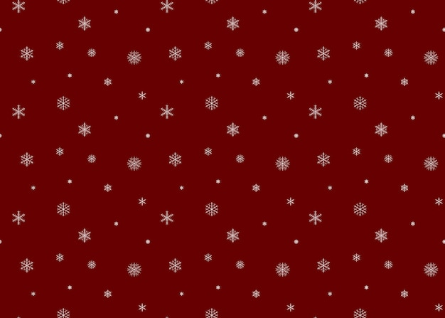 Snow background red color. snowflakes seamless pattern. Premium Vector