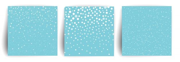 Snow background. set of christmas greeting card  template for flyer, banner, invitation, congratulation. christmas background with snowflakes.  illustration. Premium Vector