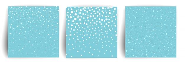 雪の背景。チラシ、バナー、招待状、お祝いのクリスマスグリーティングカードテンプレートのセット。雪のクリスマスの背景。図。 Premiumベクター