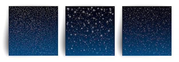 눈 배경. 전단지, 배너, 초대장, 축하 크리스마스 인사말 카드 서식 파일의 집합입니다. 눈송이와 크리스마스 배경입니다. 프리미엄 벡터