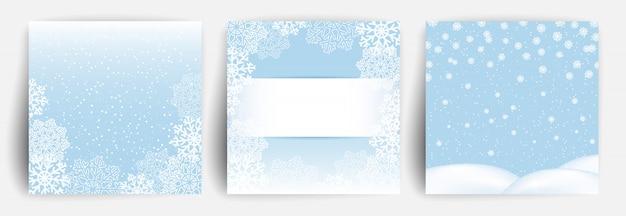 Снежный фон. набор рождественских поздравительных открыток Premium векторы