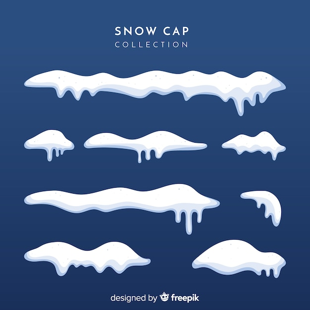 Snow cap collection Free Vector