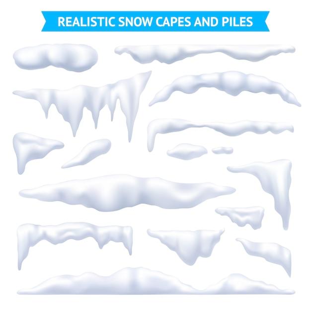 雪の岬と山セット 無料ベクター