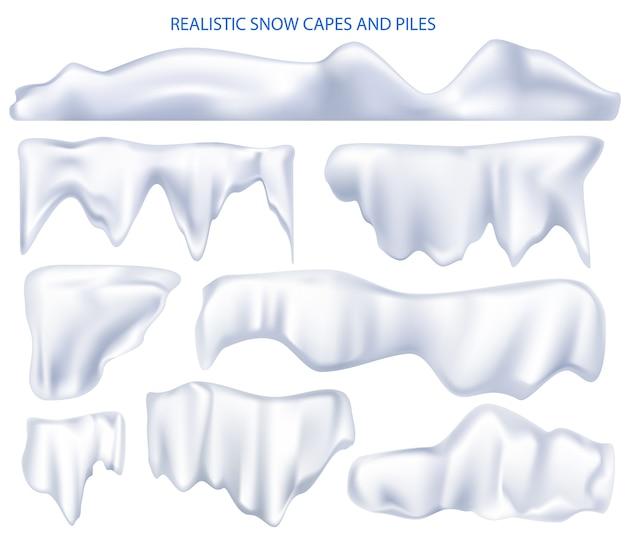 雪のマントの山。リアルなセットスノーホワイトケープとスノーキャップ Premiumベクター
