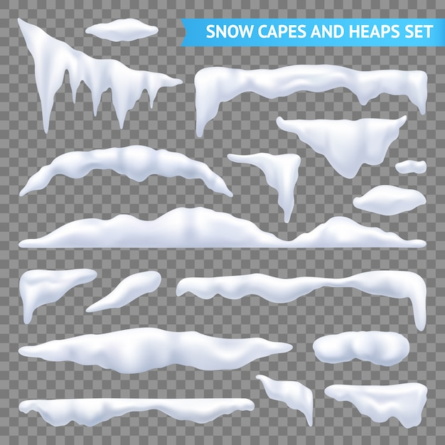 Snow capes and piles transparent set Free Vector