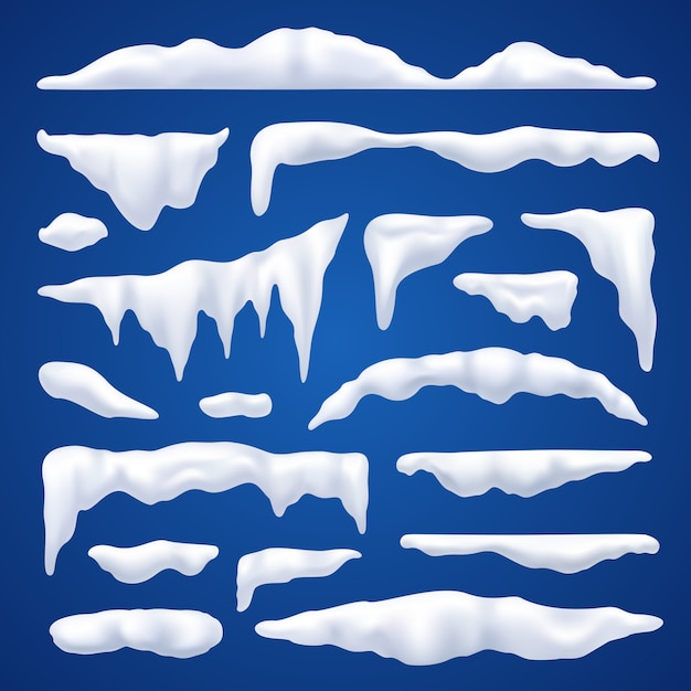 Snow capes and piles winter set Free Vector