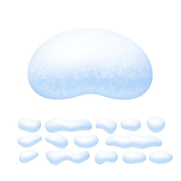 白い背景で隔離の雪の帽子セット Premiumベクター