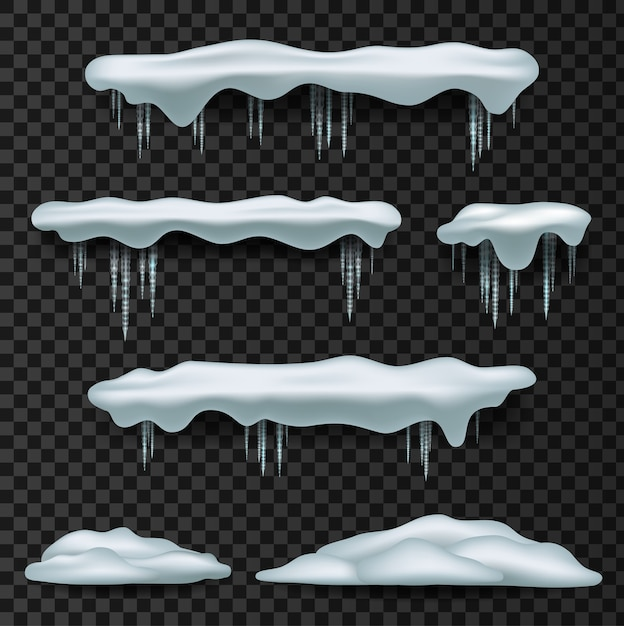 スノーキャップス。スノーキャップ、パイル、つらら、背景に分離、透明、氷、雪だるま、雪の吹きだまり。 Premiumベクター
