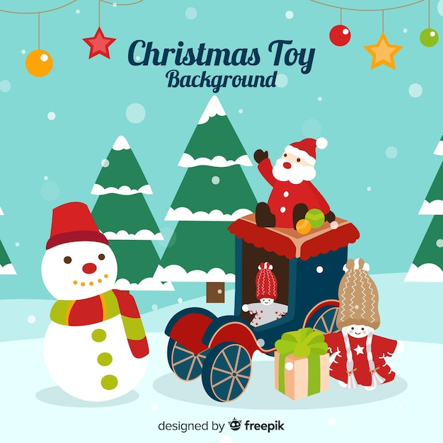 Snow-covered christmas toys background Free Vector