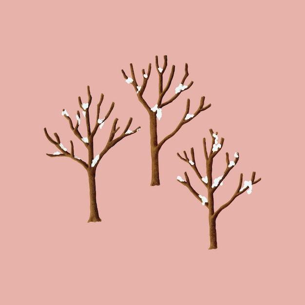 Free Vector | Snow covered trees in the winter illustration