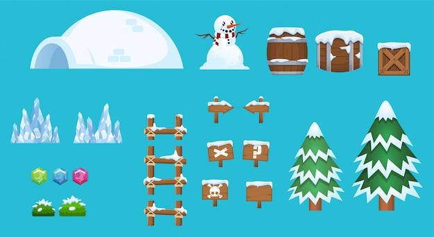 Snow  elements Premium Vector