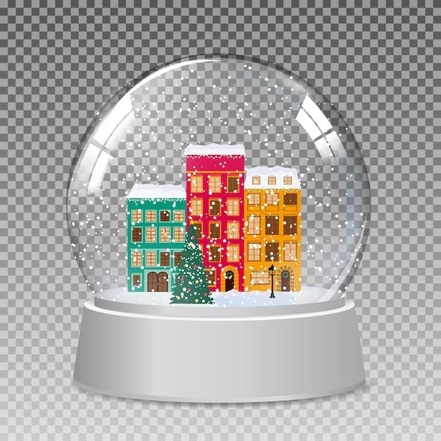 クリスマスと新年の贈り物のための冬の小さな町で雪のガラスグローブ。ベクトル Premiumベクター