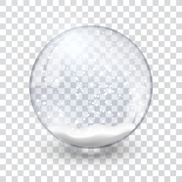 Snow globe ball realistic new year chrismas object isolated on transperent background with shadow, Premium Vector