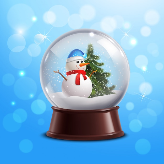 Snow globe with snowman Free Vector