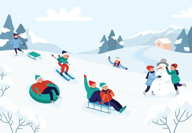 雪の風景、冬の雪に覆われた楽しい活動ベクトルイラスト Premiumベクター