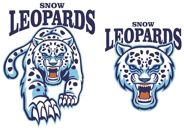 Snow leopard mascot set Premium Vector