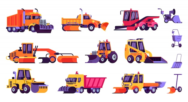 Snow machines, snow removal cleaning cars and equipment set. Premium Vector