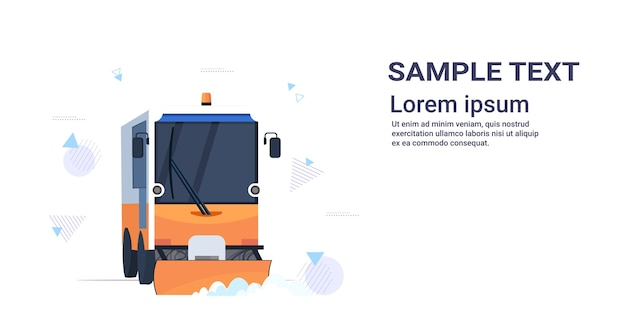 Snow plow truck cleaning road afrer snowfall winter snow removal Premium Vector