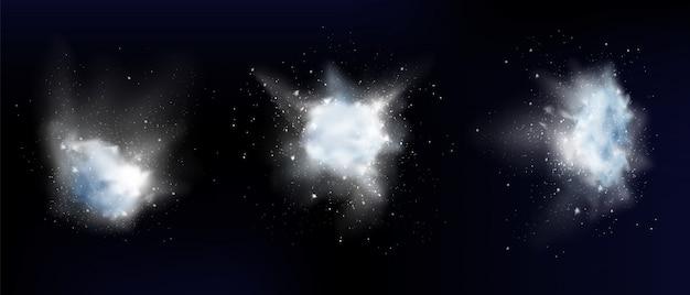 Esplosione di neve in polvere bianca o nuvole di fiocchi di neve Vettore gratuito