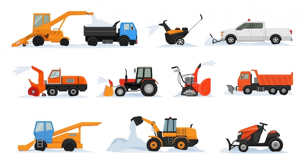 Snow removal vector winter vehicle excavator bulldozer cleaning removing snow snowy set of snowplow equipment tractor truck snowblower transportation Premium Vector