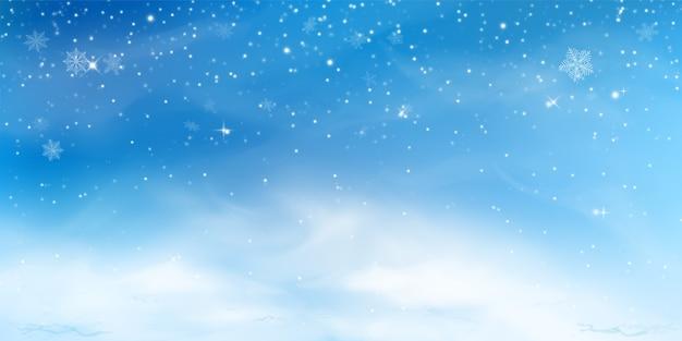 Снежный зимний фон. небесный пейзаж с холодным облаком, метелью, стилизованными и размытыми снежинками, сугробом в реалистичном стиле. Бесплатные векторы