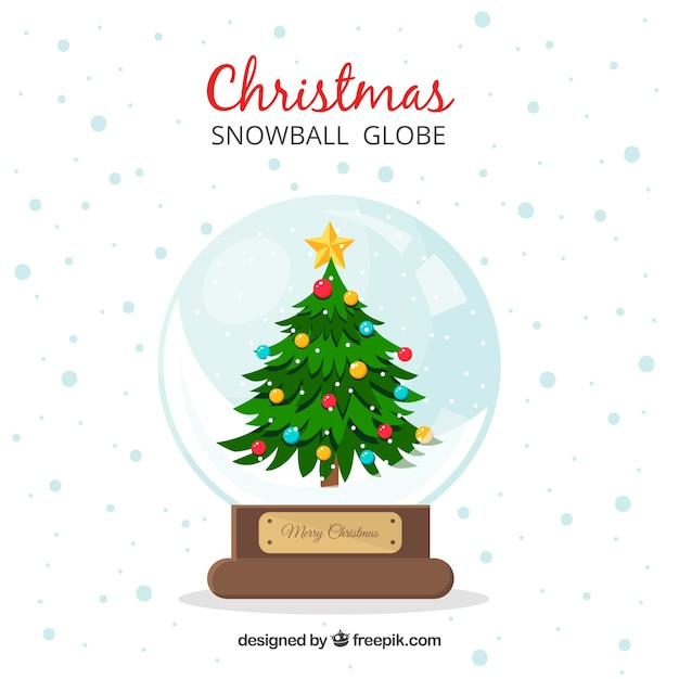 Snowball background with christmas tree