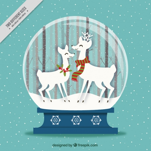 Snowball background with nice reindeer