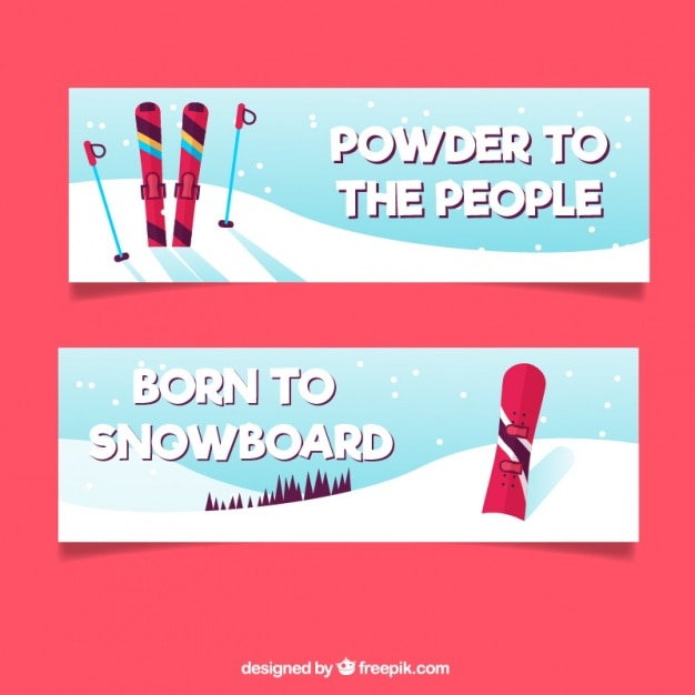 Snowboard and ski banners
