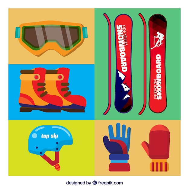 Snowboard assortment of items in flat\ design